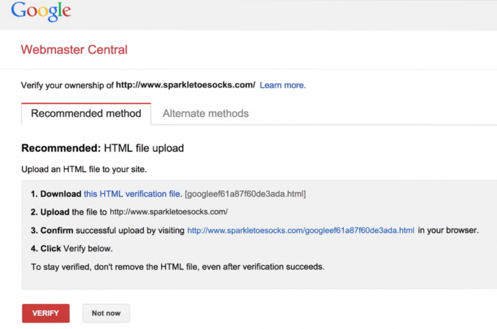 Verificar Website in Google Search Console