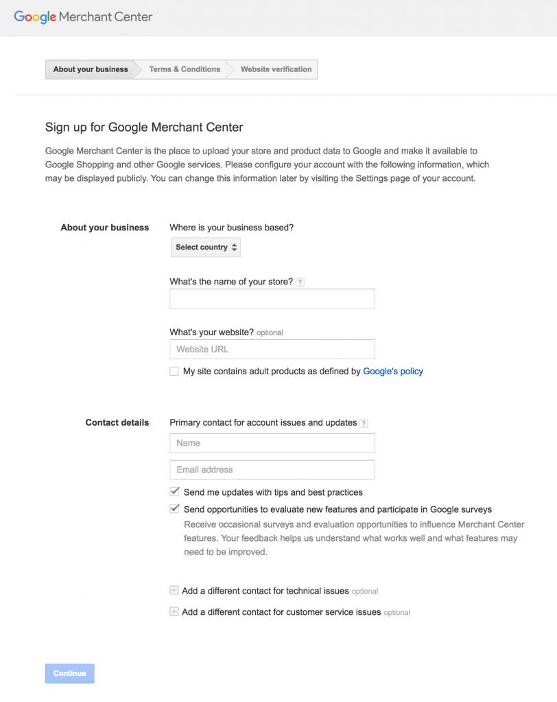 Google Merchant SignUp